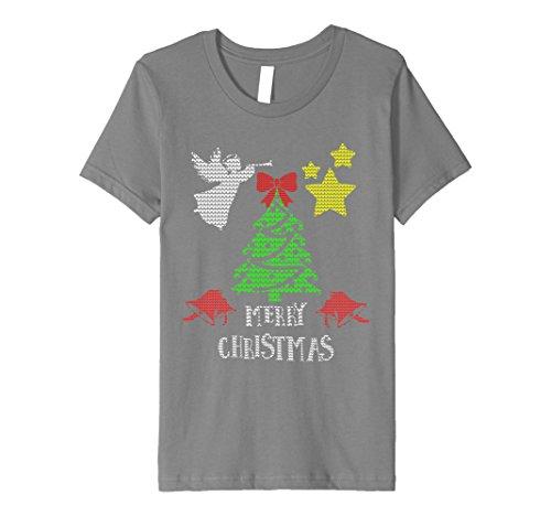 Bell Boy Costume Pattern (Kids Christmas Shirt Traditional Xmas Ugly Sweater Knit Pattern 6 Slate)