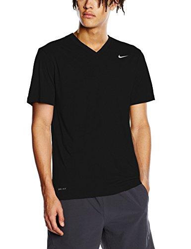Nike Mens Legend 2.0 Short Sleeve V-Neck Tee Black/Black/Matte Silver MD