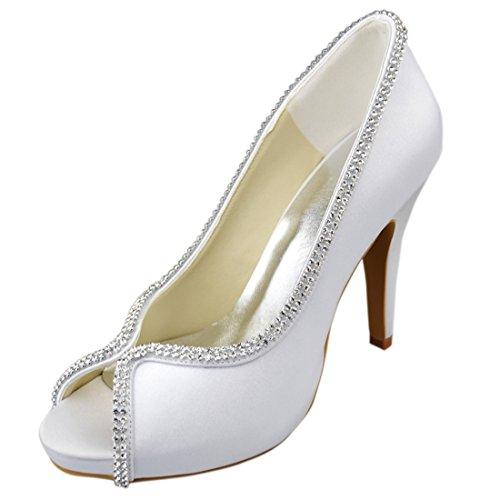 Sparkle Satin Sandals (Minishion Y152 Womens Stiletto High Heel Open Toe White Satin Evening Party Bridal Wedding Sparkle Sexy Shoes Sandals 8 M US)