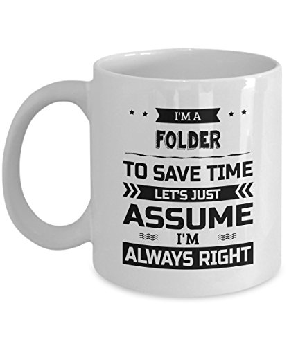 Folder Mug - To Save Time Let's Just Assume I'm Always Right - Funny Novelty Ceramic Coffee & Tea Cup Cool Gifts for Men or Women with Gift ()