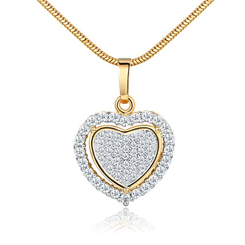 Pendant Art Deco Gold (GULICX Gold Tone Gift White Clear Full Cubic Zirconia Heart in Heart Necklace Pendant Chain)