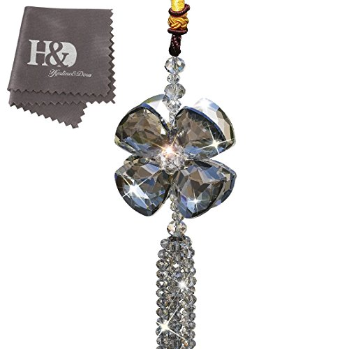 Beautiful Four-leaf Crystal Clover Car Pendant Lucky Hanging Rearwiew Mirror Ornament Car Interior Decor
