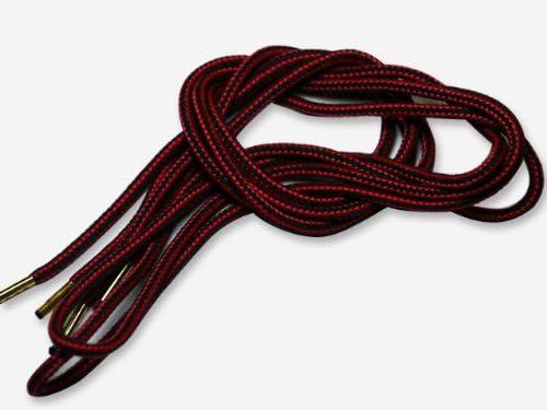 (クツヒモドットコム)靴ひも.com ワークブーツ用靴紐・赤×黒(約4mm) 80cm・90cm・100cm