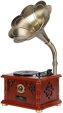 レトロスタイルのBluetooth蓄音機レコードプレーヤー - 補助入力付きポータブル蓄音機、CD、FM/AMラジオ、3スピードターンテーブルビニールレコーダー