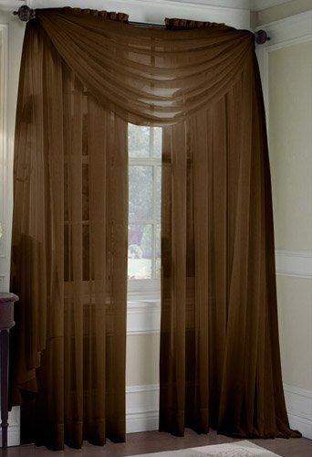 LuxuryDiscounts Beautiful Elegant Solid Chocolate Brown Sheer Scarf Valance Topper 40