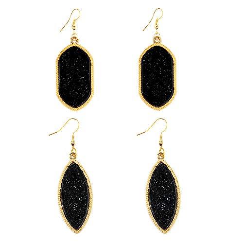 2 Pair Bohemian Simulated black Crystal Stone Druzy Acrylic Statement Earrings Teardrop Dangle Oval Gold plated Hoop