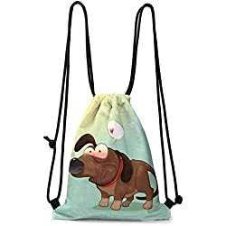 travel bag Funny,Puppy in Love Werner Dog Romance Confusion Humor Caricature Style Pet Graphic,Brown Almond Green W13.8 x L17 Inch Foldable bag