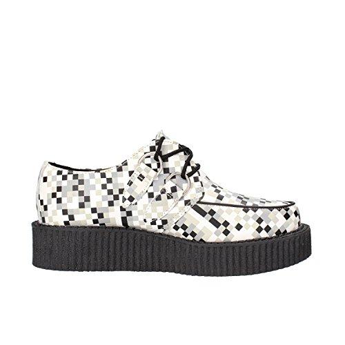 T.U.K sneakers donna bianco grigio pelle AG832
