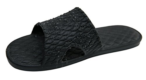 Urban Coco Indoor Open Teen Slippers Antislip Badkamer Doucheslippers Zwart