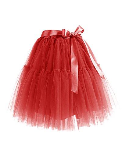 Bbonlinedress Falda Tul Mujer Corta Cintura Elástica Con Cinturón Para Fiesta Boda Red