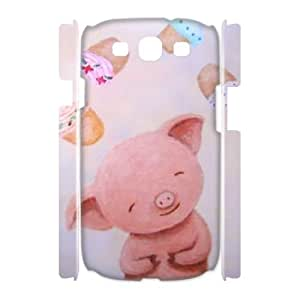 DIY Pink piggy 3D Plastic Case for SamSung Galaxy S3 i9300, Custom Pink piggy 3D S3 Shell Case, Personalized Pink piggy 3D i9300 Cover Case