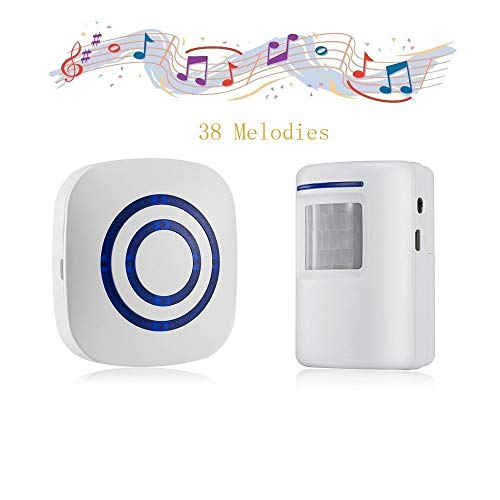 Door Chime,DOHAOOE Wireless Business Door Motion Sensor Detector Smart Visitor doorbell Home Security Driveway Alarm with 1 Plug-in Receiver and 1 PIR Detector Weatherproof(White)