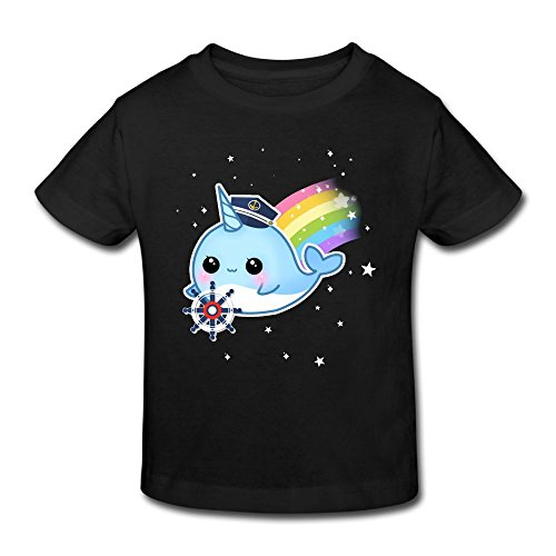 (KissKid Cute Kawaii Captain Narwhal with Rainbow Baby Short Sleeve Tshirt 4 Toddler)