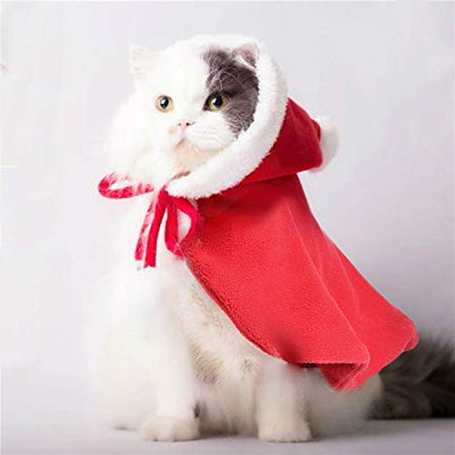 Legendog Cat Costume Pet Christmas Costume Red Velvet Pet Cape Cat Cloak with Christmas Hat Cat Apparel for Cats and Small Dogs