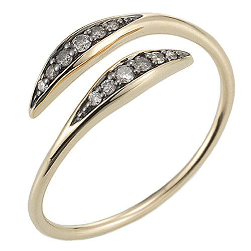 Diamond Bypass Ring in 14K Yellow Gold -