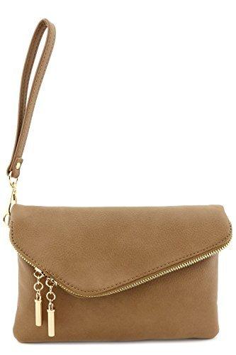 Envelope Wristlet Clutch Crossbody Bag with Chain Strap Stone