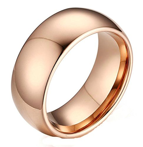 Mens Womens Wedding Band Stainless Steel Rose Gold Simple Bling Round 8MM Size 9 by Aienid