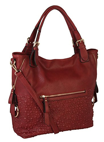 Strap Tote 1755 Handbag Bubble Surface Shoulder Zip Wine1 LY Adjustable Womens Side Purse Large Diophy Hobo Removable OpqYZ