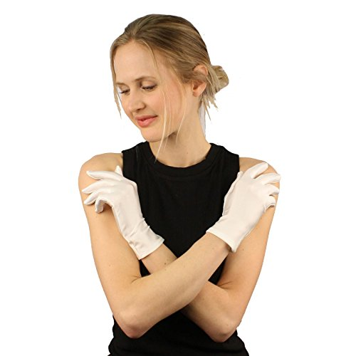 Elegant Satin Matte Finish Stretchy Wrist Length Dressy Evening Gloves