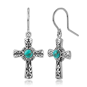 925 Oxidized Sterling Silver Filigree Cross Simulated Turquoise Stone Dangle Hook Earrings 1.3""