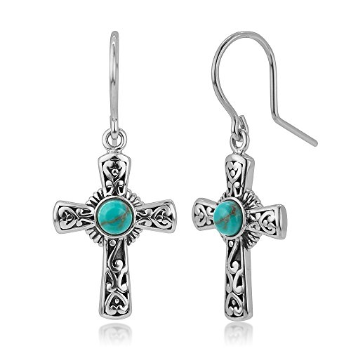 (925 Oxidized Sterling Silver Filigree Cross Simulated Turquoise Stone Dangle Hook Earrings 1.3