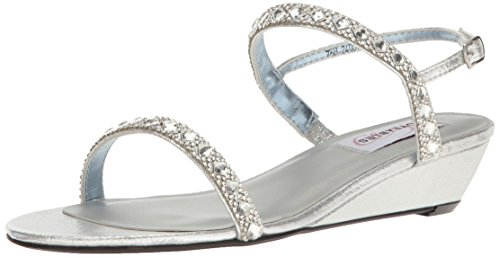 Wedge Dyeable Shoes - Dyeables, Inc Womens Women's Jasmine Wedge Sandal, Silver, 7 M US