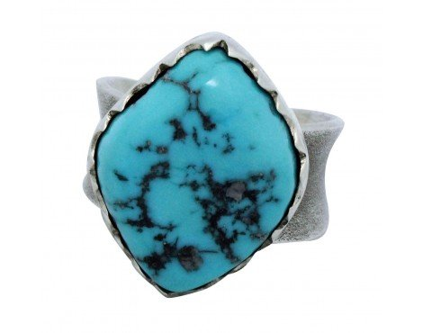 - Natasha Peshlakai, Ring, Kingman Turquoise, Sterling Silver, Navajo Handmade,9.5