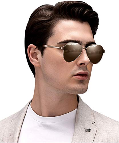 Aviator sunglasses for Men Polarized Retro Vintage Shades, Designer Mirrored for Driving Cycling (Brown)