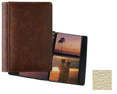 Raika #157 Handcrafted Top Grain Leather, 5-in x 5-in 2-up Post Bound Photo Album, Beige ()
