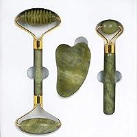 4-in-1 Anti-Aging Facial Jade Roller Bundle (Smooth, Rigid, Gua Sha, and Skin Care Bag) - 100% Certified Natural Jade…