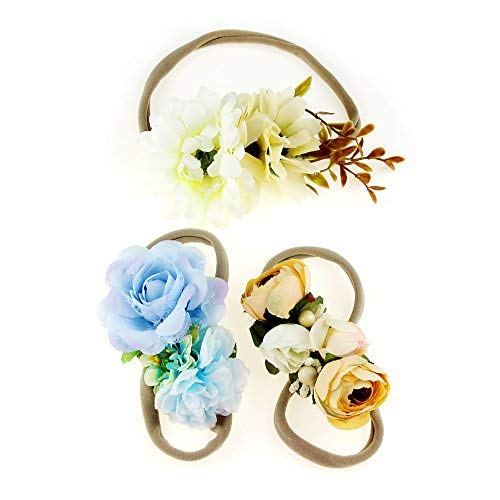 Ncmama Baby Girls Floral Headbands Nylon Elastic Floral Hair Band For Newborn Infant Toddler Pack of 3
