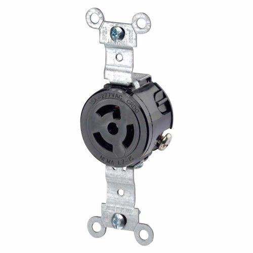 Leviton 4760 15 Amp, 277 Volt, NEMA L7-15R, 2P, 3W, Single Locking Receptacle, Industrial Grade, Grounding, (Single Locking Receptacle)