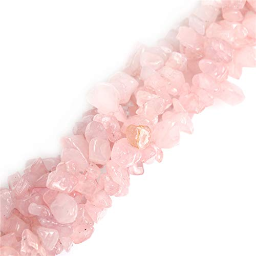 Joe Foreman 6-8mm Rose Quartz Beads Natural Stone Gravel Gemstone Chips Beads Wholesale Loose Beads for Jewelry Making Freeform Pink 34
