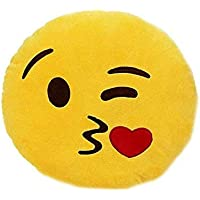 Bee's Bliss Smiley Thick Plush Pillow Round Cushion Pillow Stuffed /Gift for Kids/for Birthday Gift -30CM , Yellow (Kissable Smiley)