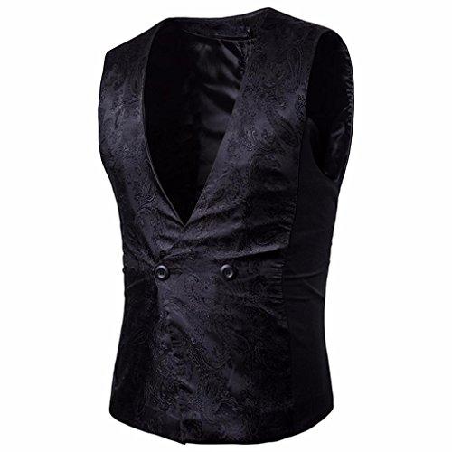 Multicolor Noir Lenfesh Mariage Vintage Slim Élégant Manches Hommes Fit Gilet Affaires Jacket qBn7qgT
