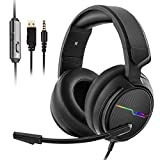 Jeecoo Stereo Gaming Headset for PS4, Xbox One S - Noise Cancelling Over Ear Headphones with Microphone - LED Light Soft Earmuffs Bass Surround Compatible with Xbox One PC Laptop Nintendo Switch Games: more info