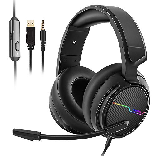 Jeecoo Stereo Gaming Headset for PS4, Xbox One S - Noise Cancelling Over Ear Headphones with Microphone - LED Light Soft Earmuffs Bass Surround Compatible with Xbox One PC Laptop Nintendo Switch Games ()