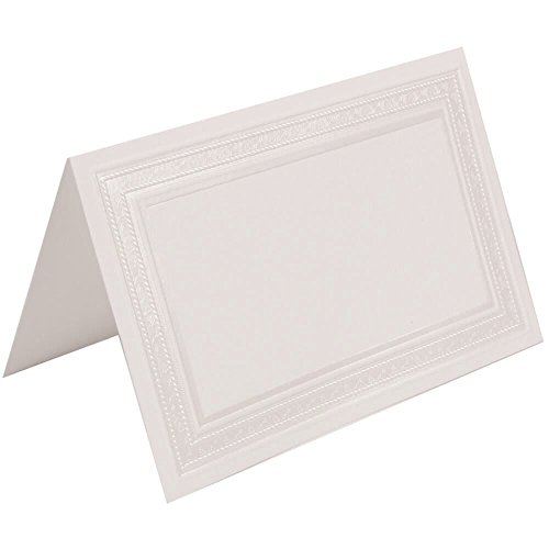 JAM PAPER Table Setting Foldover Place Cards - 4 1/4 x 2 3/4 - White Border Bow - 100 Tent - Bow Border