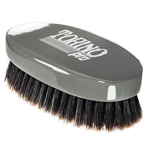 Torino Pro Wave Brush #1010 - By Brush King - Medium Soft Oval Palm/Military 360 Waves Club Brush