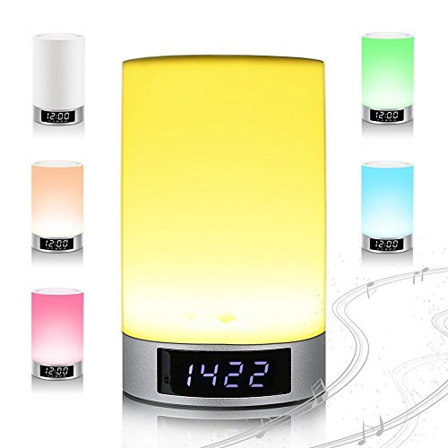 SinoPro New Stereo V4.0 Wireless Bluetooth Speaker Lamp Night Light-Touch Sensitive 6 Light Modes,4000mAh Battery,16 Million+ Colors,Supporting TF Card, Dimming,Multi-color,Speakerphone,Alarm Clock