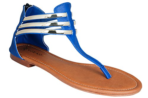 97563c355 Hover to zoom · KOH KOH Women s Strappy Metallic Gladiator Summer Flats  Sandals