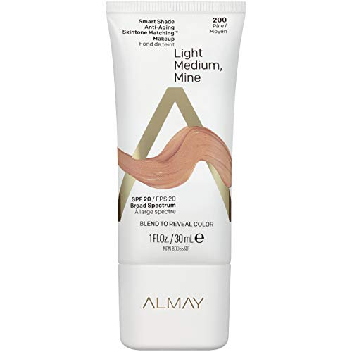 Almay Smart Shade Anti-Aging Skintone Matching Makeup, Light Medium Mine, Foundation, Hypoallergenic, Dermatologist-tested, SPF 20, 1 Fl. Oz.