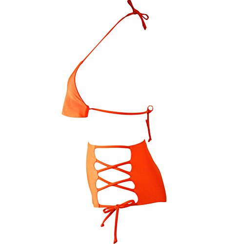 Erica Bikinis Halter Bikinis de la playa de las mujeres de dos piezas Set Swimsuit Cintura Alta Bandage Wireless Padded Bra Orange