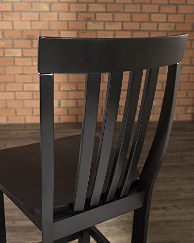 Crosley Furniture CF500324-BK Schoolhouse Bar Stool (Set of 2) 24-inch Black
