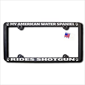 James E. Reid Design My American Water Spaniel Rides Shotgun License Frame 2