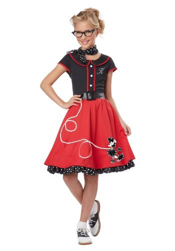 California Costumes Child's 50's Sweetheart Costume, Red/Black, (Sock Hop Dress)