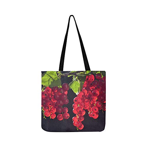 Currants Red Fruit Fruits Close Up Garden Berries Canvas Tote Handbag Shoulder Bag Crossbody Bags Purses For Men And Women Shopping Tote ()
