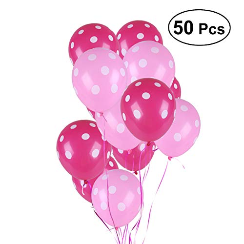NUOLUX 50 Pcs 12 Inch Polka Dot Latex Balloon Wedding Birthday Party Decoration (Rose Red Pink)]()