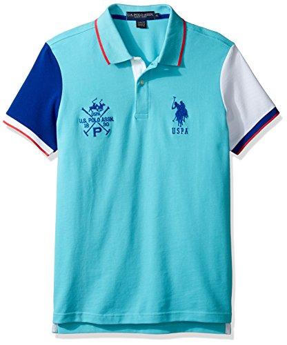 U.S. Polo Assn. Men's Short Sleeve Color Blocked Slim Fit Pique Polo Shirt, 8258-Painters Aqua, XL