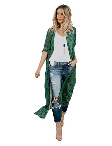 (Colorful House Women Chiffon Long Beach Cover Up, Tunic Swimwear Kimono Cardigan(Green, Medium))